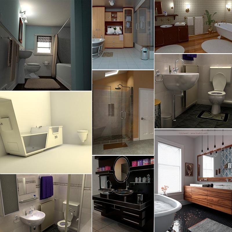 Bathroom Interiors Set 3d Model Free Download Creazilla
