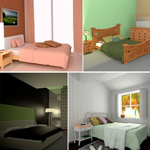 Bedroom Interiors Set 3D Model