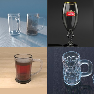 Beer Mugs and Glasses Set 3D Model