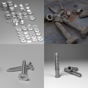 Bolts and Screw Set 3D Model