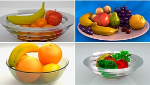 Bowl of Fruits Set 3D Model