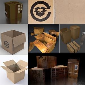 Cardboard Boxes Set 3D Model