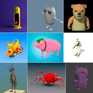 Cartoon Animals Set 3D Model