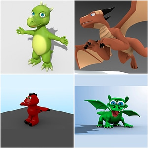 Cartoon Dragons Set 3D модель