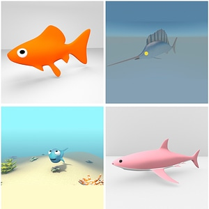 Cartoon Fishes Set 3D Model