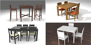 Table and Chairs modèle 3D