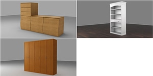 Wardrobe and Shelves 3D Model
