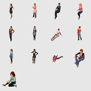 Set of Females 3D Model
