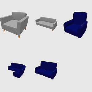 Set of Sofas and Armchairs 3D Model
