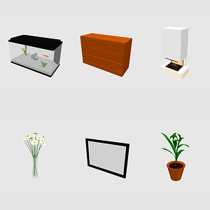 Set of Decorations 3D Model