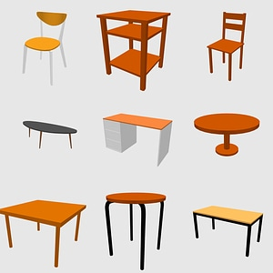 Set of Tables and Chairs 3D Model