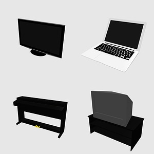 TV, Piano and Laptop 3D Model
