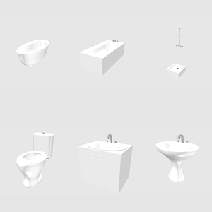 Set of Washbasin, Bath and Toilet 3D Model