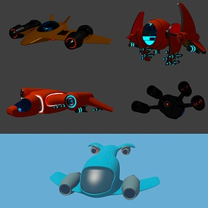 Cartoon Spaceship Set 3D Model