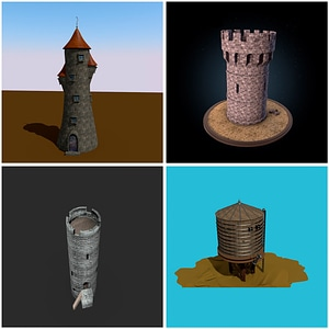 Castle Towers 3D Model