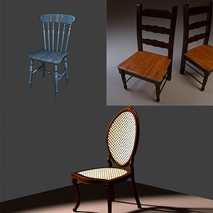 Antique Chairs Set 3D Model
