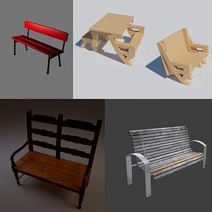 Benches Set 3D 모델