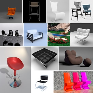 Modern Chairs Set 3D Model