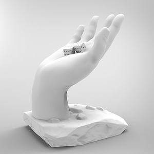 Hand with Dice 3D Model