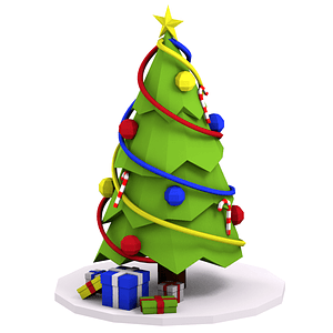 Cartoon Christmas Tree 3D Model