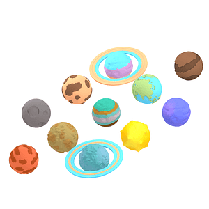Set of Cartoon Planets 3D model