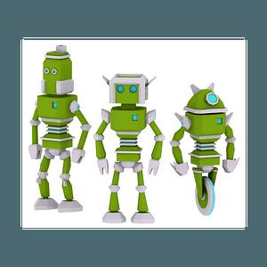 Set of Robots 3D Model