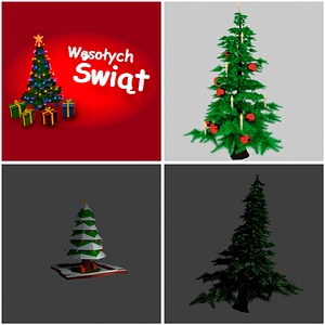 Christmas Trees Set 3D Model