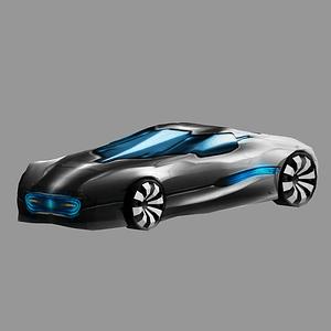 Futuristisches Auto 3D-Modell