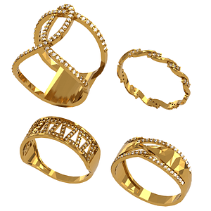 Set of Rings 3D Model