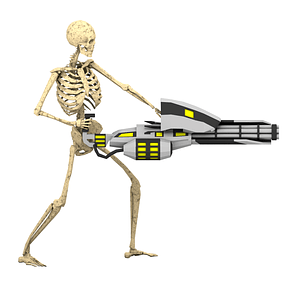 Skeleton With Futuristic Minigun 3D Model