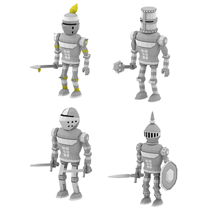 Set of Knights 3D Model