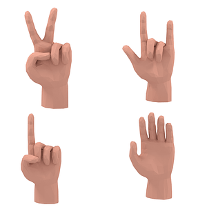 Set of Hands 3D Model