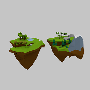 Set of Floating Islands 3D Model
