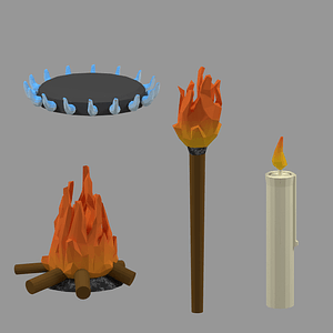 Set of Fire 3D Model