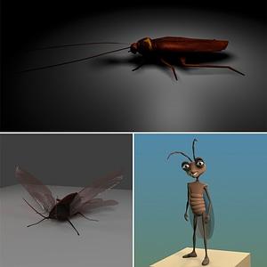 Cockroach Set 3D Model