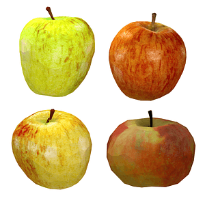 Set of Apples 3D Model