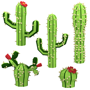 Set of Cactuses 3D Model