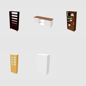 Wardrobe, Cabinet and Bookcase 3D Model