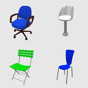 Set of Stools and Chairs 3D Model