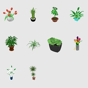 Set of Plants 3D Model