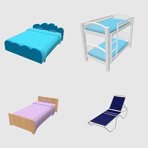 Set of Beds 3D Model