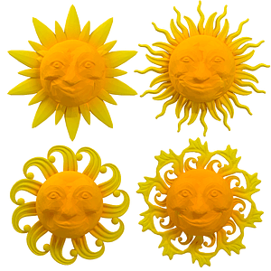 Set of Cartoon Sun 3D Model