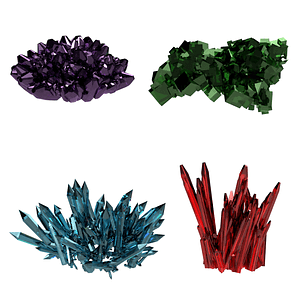 Set of Crystals 3D Model