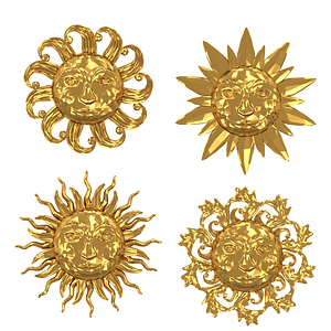 Set of Gold Medallions with Sun Faces 3D Model