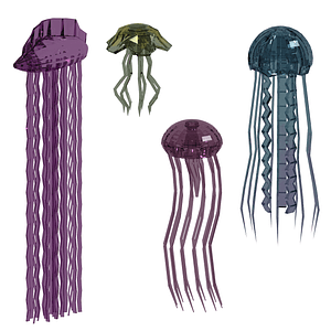 Set of Jellyfish 3D Model