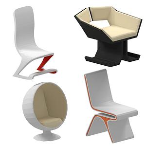 Sarja futuristisia tuoleja 3D-malli