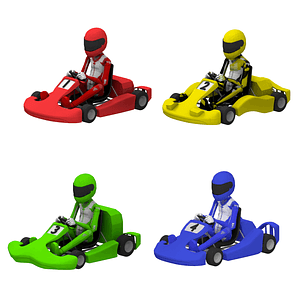 Set of Karts with Players 3D Model