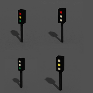 Traffic Light Low poly 3D-malli