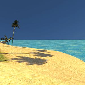 야자수와 섬과 모래 해변 3D 모델
