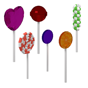 Set of Lollipops 3D Model